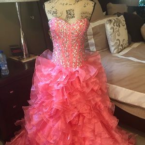 Gorgeous Salmon Beaded Pageant Gown!